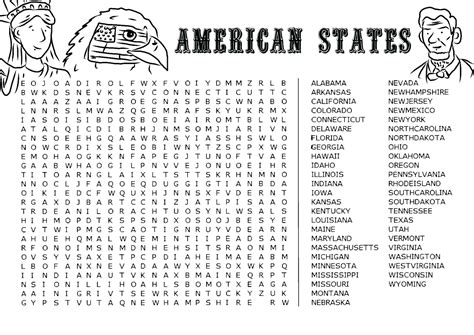 American Search Favour In American States Word Search