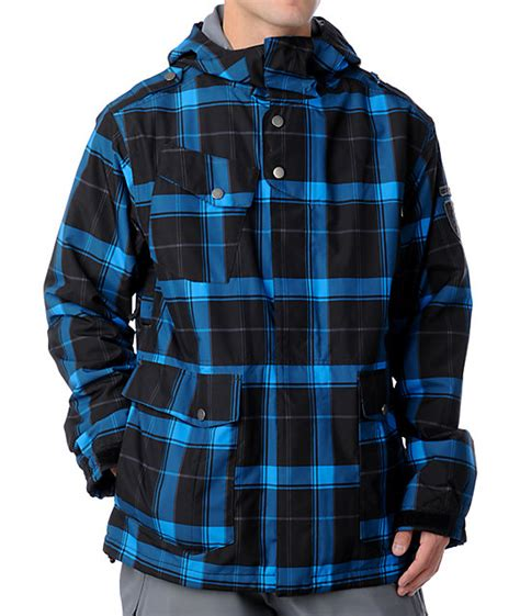 black and white patterned ski jacket empyre seige black blue plaid snowboard jacket zumiez