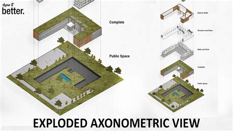 exploded floor plan exploded axonometric view in photoshop youtube