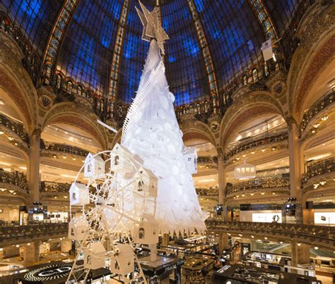 christmas tree in lafayette shop windows of galeries lafayette at the