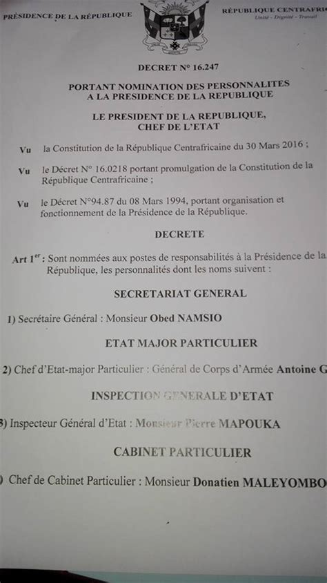 What Is The President S Cabinet by Les Membres Du Cabinet Du Pr 233 Sident Centrafricain Faustin
