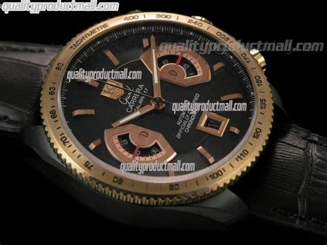 Tag Heuer Grand Calibre 8 Leather Black Gold tag heuer grand caliber 17 rs2 limited automatic chronograph 18k gold black leather
