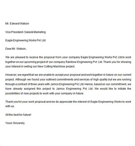 Bid Decline Letter Template Sle Rejection Letter 7 Free Documents In Word