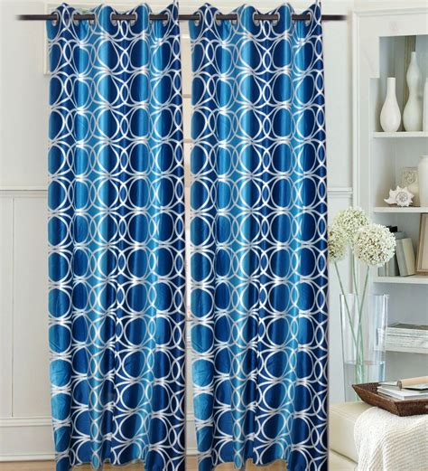 geometric blue curtains door curtains set of 2 home set of 2 door eyelet curtains