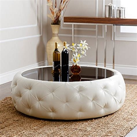 abbyson living royala leather coffee table in white