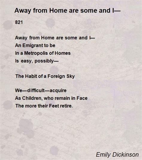 away from home are some and i poem by emily dickinson