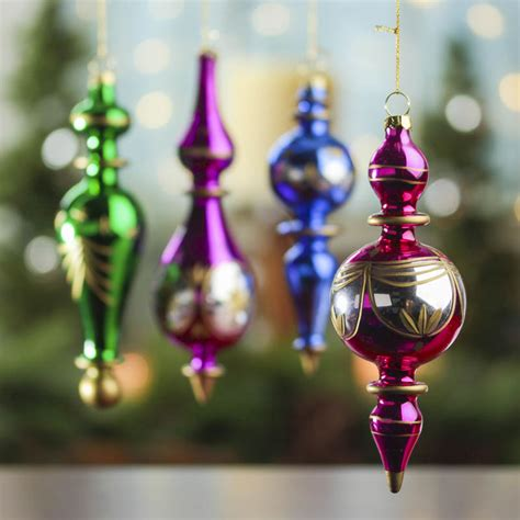 jewel toned vintage glass finial ornaments christmas