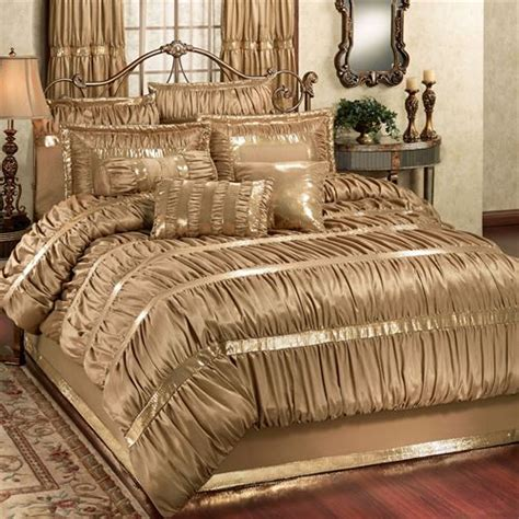 silk comforter sets splendor shirred faux silk gold comforter bedding