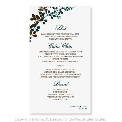 wedding menu sles templates wedding menu card template by diyweddingtemplates