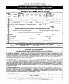 football registration form template sports registration form template sle registration