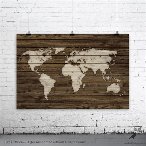 printable rustic art world map poster rustic map poster rustic decor rustic wall