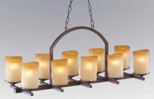 Linear Candle Chandelier 10 Light Rustic Iron Candle Veranda Linear Chandelier