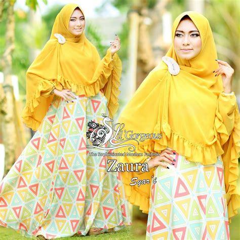 Zahra Khimar Pet Ukuran L zaura yellow baju muslim gamis modern