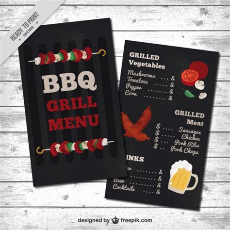 Fast Food Kitchen Design Barbecue Menu Template Vector Free Download