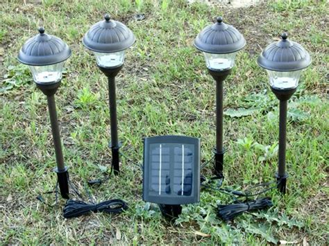 solar lights with remote solar panel metal solar landscape lights 4 pack with remote panel