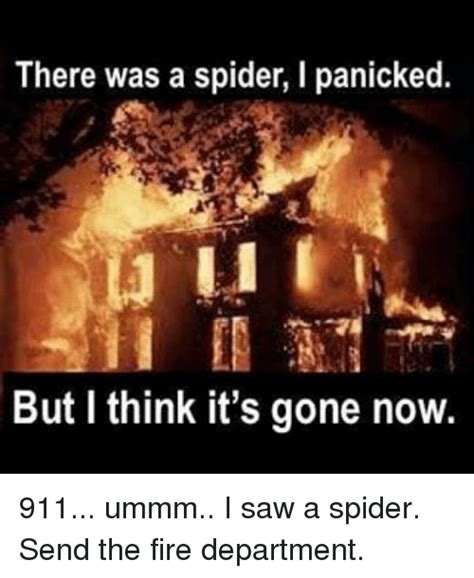 I Saw A Spider Meme - funny firefighter memes of 2016 on sizzle fire
