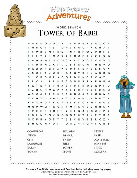 printable xhosa worksheets bible word search tower of babel bible words word
