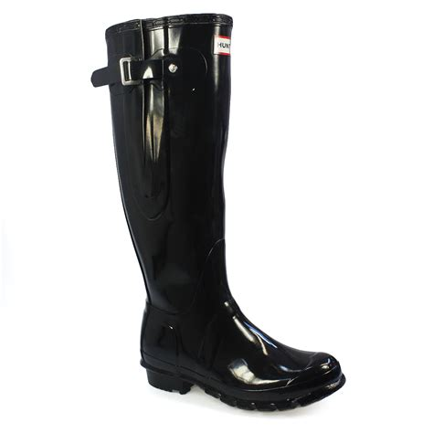 black gloss boots original high adjust gloss black wellington boots