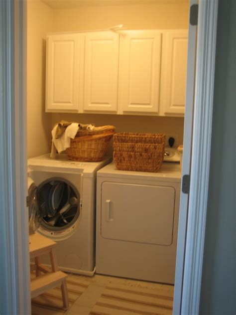 Old Very Small Laundry Room Makeover Design With White