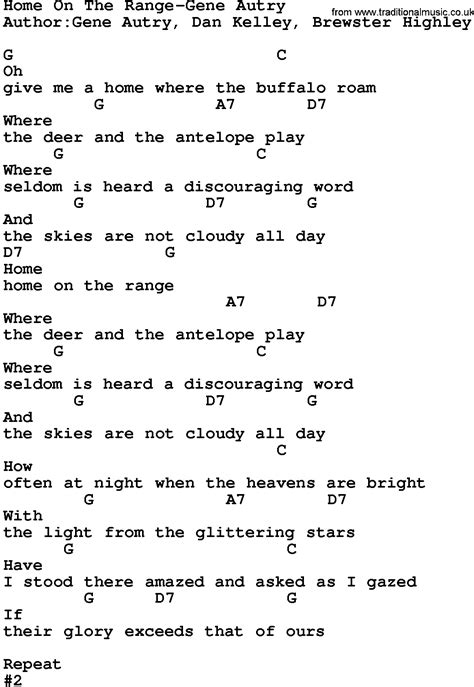 country home on the range gene autry lyrics and chords