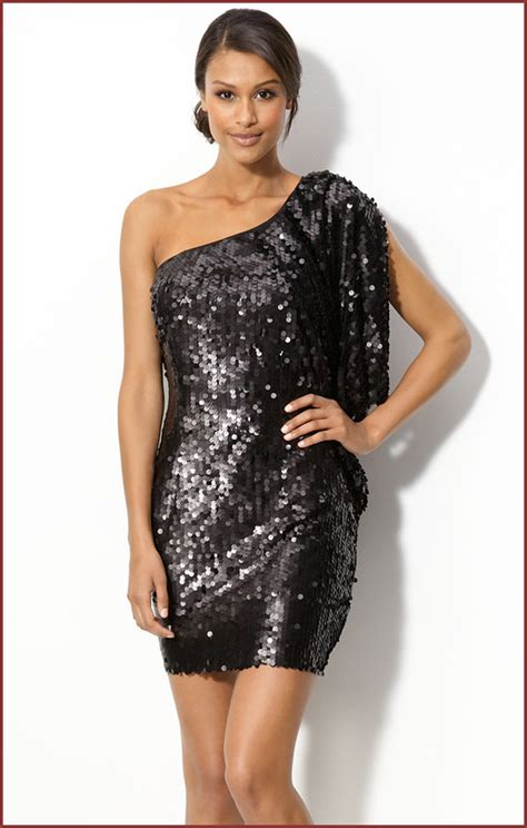 One Shoulder Dress Black White black sequin one shoulder dress dress fa