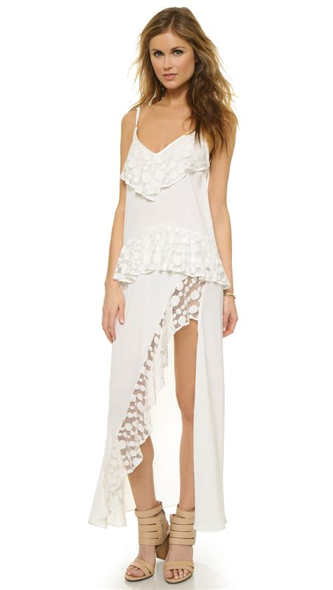 43798 White Trim Dress shakuhachi stevie lace trim split dress white in white lyst