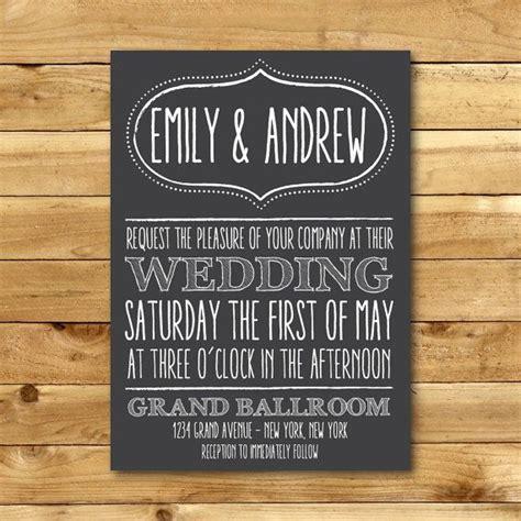 printable chalk wedding invitation template horizontal