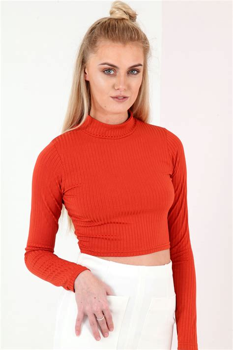 Turtle Neck Ribbed Top by Sleeve Turtle Neck Ribbed Crop Top From Premier Glam