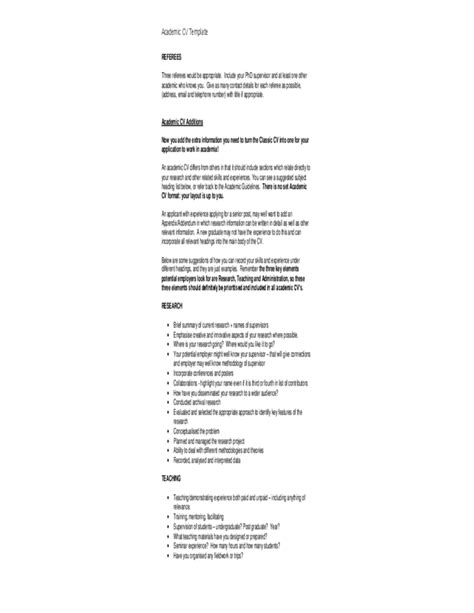detailed cv format detailed academic cv template free