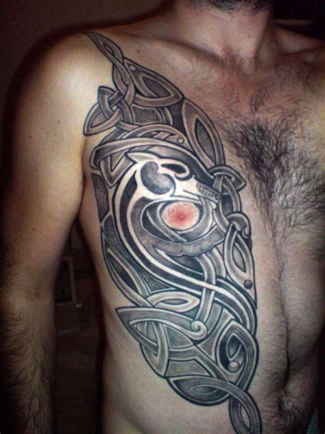 irish tattoo on chest celtic half chest tattoo