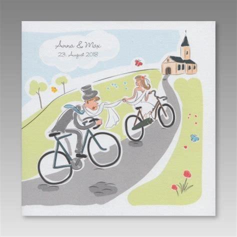 Hochzeitseinladung Fahrrad by Comic Hochzeitseinladung Brautpaar F 228 Hrt Fahrrad