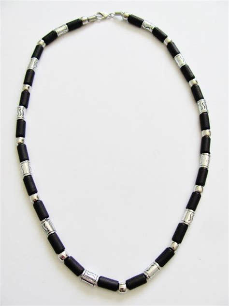 mens bead necklaces cancun chrome black bead necklace s