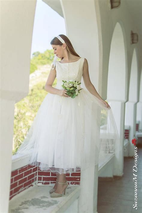Vintage 50 S Wedding Dresses by 50s Wedding Dress Tea Length Bridal Gown Ivory Wedding
