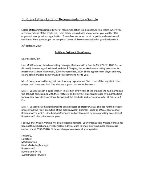 formal letter of recommendation template business reference letter template selimtd
