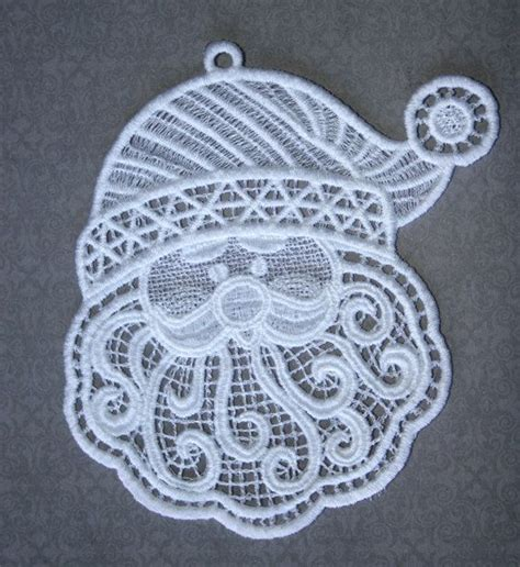 embroidery design lace santa free standing lace embroidered ornament