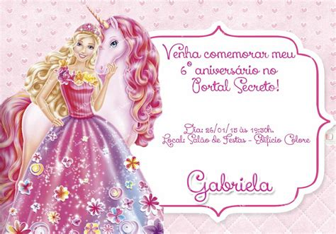 convites personalizado da barbie pictures to pin on pinterest convite barbie portal secreto ateli 234 josi duarte elo7