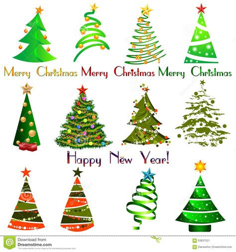 Set Of Different Elegant Christmas Trees Design Elements Stock Vector Image 63837521 Tree Collection Of Design Elements Stock Vector Illustration Of Icon Botany 32428346