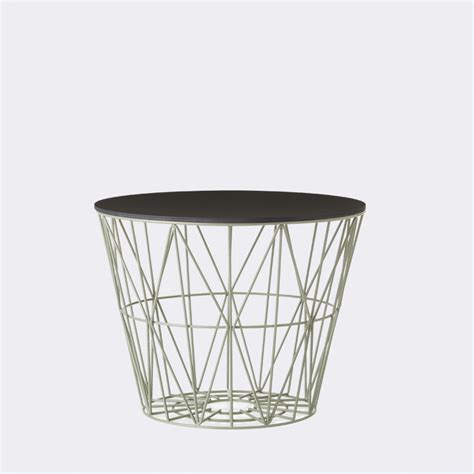 ferm living wire basket dusty green small mand the