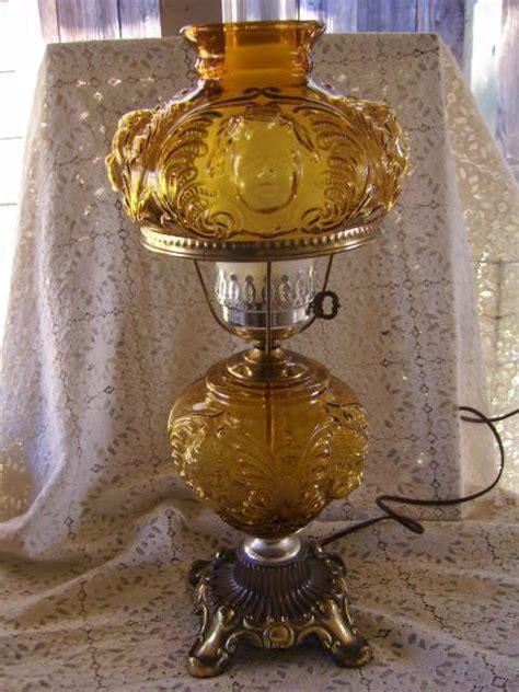 antique glass hurricane ls vintage amber glass fenton cherub hurricane l