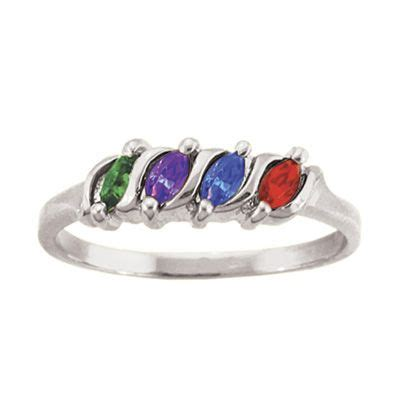 Zales S Day Rings S Marquise Simulated Birthstone Ring In 10k Gold 1