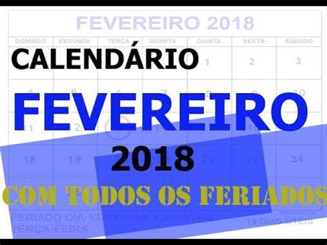 Calendario 2018 Carnaval Calend 193 Fevereiro 2018 Feriados