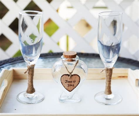 custom rustic vase wedding unity sand ceremony set