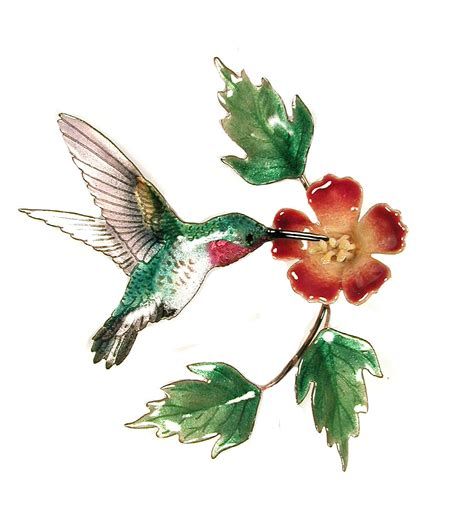 Hummingbird Home Decor Bovano Enamel Copper Wall Hummingbird W Trumpet Flower Ebay