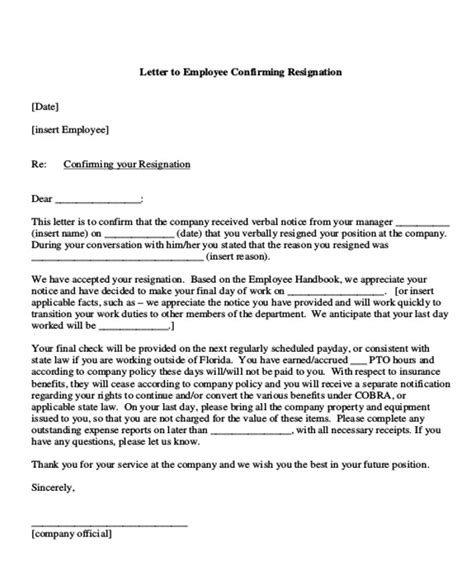 Resignation Letter From Employee To Employer by Sle Employment Resignation Letter 7 Exles In Pdf Word