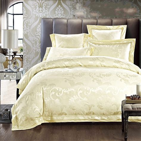 Beige Jacquard Silk Comforter Cover King Queen Size 4pcs
