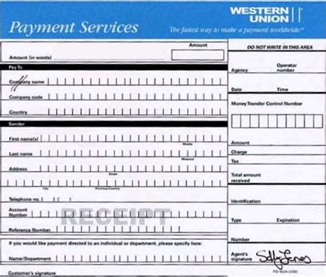 Western Union Receipt Template by Western Union Receipts