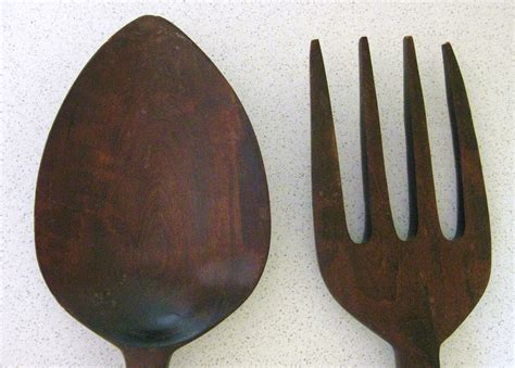 large wooden fork and spoon wall decor 28 inches long