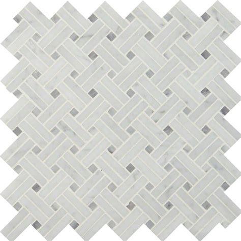 Carrara White Basketweave Pattern Polished   Colonial Marble & Granite