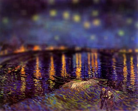 des peintures de van gogh avec  effet tilt shift