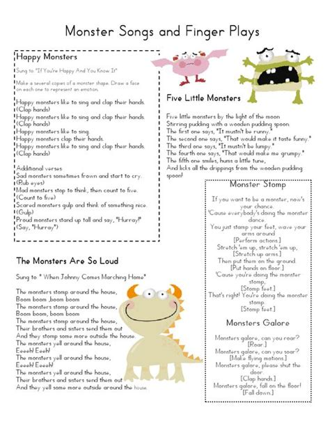 theme exles in plays circle time monster songs and finger play preschool